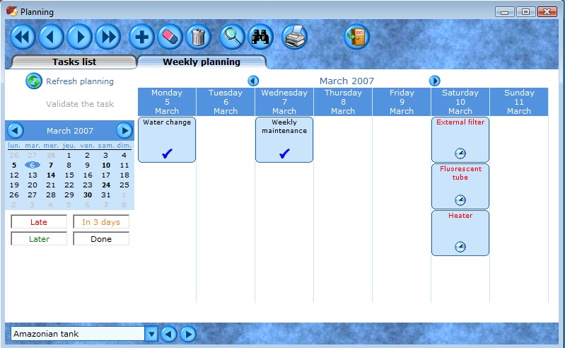 Aquarium tasks planning